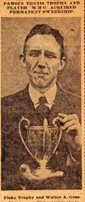 Walter Goss holding Fisk Trophy which he acquired permanent ownership of in 1918
