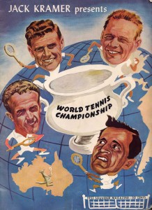 Advertisement for the tennis exhibition featuring Jack Kramer, Pancho Segura, Frank Sedgeman, and Ken MacGregor