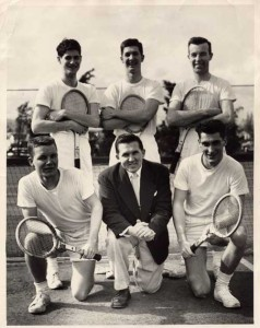 University of Portland team - 1954: Burke Mims, Mike Tichy (coach), Jerry Doyle, Jack Neer, Mike Walsh, Jim Flynn